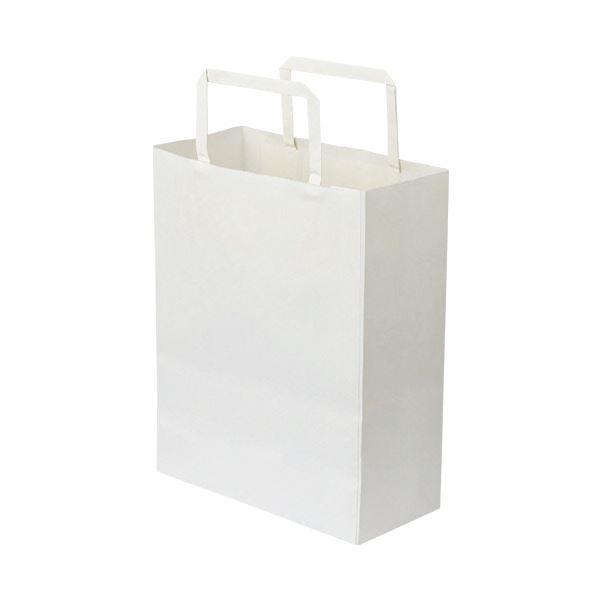 (まとめ)TANOSEE 紙手提袋 平紐 特小ヨコ200×タテ245×マチ幅90mm 白無地 1パック(50枚)【×10セット】