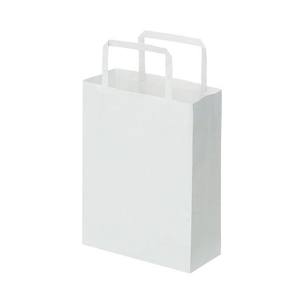 (まとめ)TANOSEE 紙手提袋 平紐 極小ヨコ180×タテ240×マチ幅80mm 白無地 1パック(50枚)【×10セット】