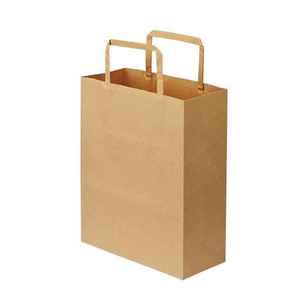 (まとめ)TANOSEE 紙手提袋 平紐 特小ヨコ200×タテ245×マチ幅90mm 茶無地 1パック(50枚)【×10セット】