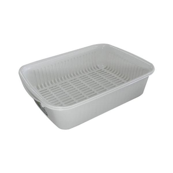 (まとめ) 水切りバット/水切りラック 【浅型 コンパクト】 抗菌加工 ホワイト キッチン用品 『ポゼ』 【30個セット】