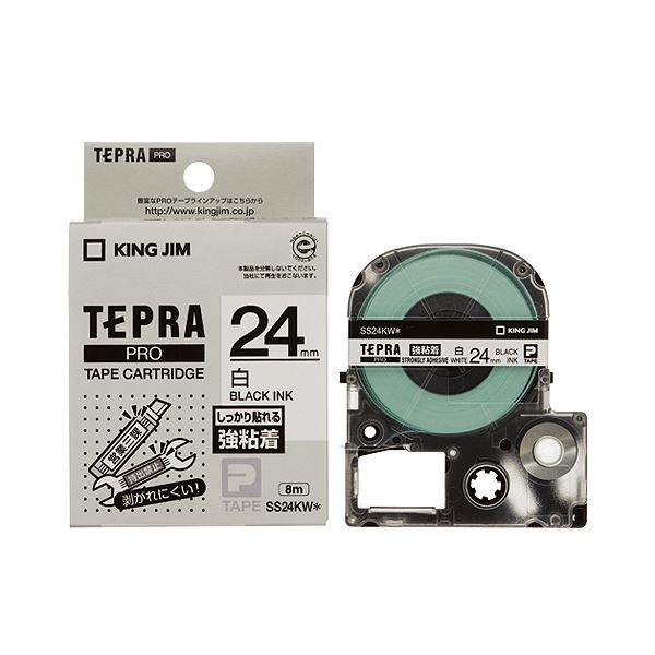 (まとめ) キングジム テプラ PRO テープカートリッジ 強粘着 24mm 白/黒文字 SS24KW 1個 【×10セット】