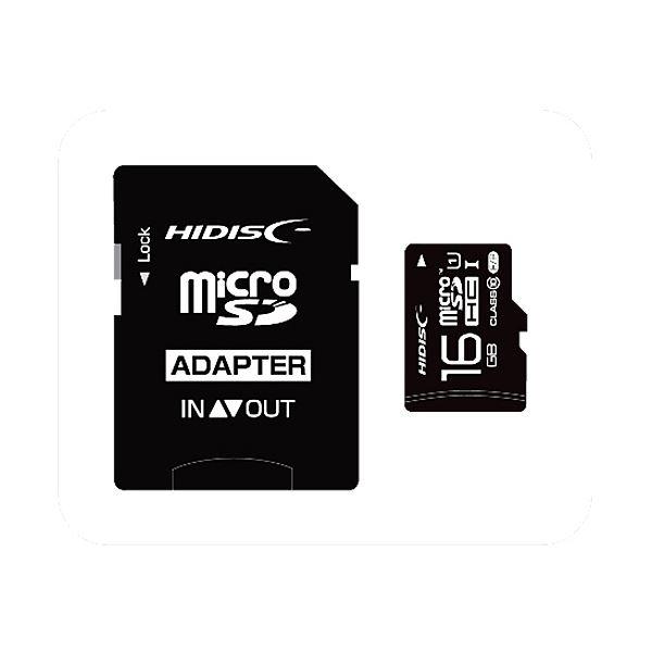 (まとめ) ハイディスク microSDHCカード16GB class10 UHS-I対応 SD変換アダプター付き HDMCSDH16GCL10UIJP3 1枚 【×10セット】