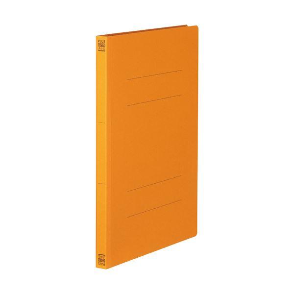(まとめ) プラス フラットファイル 樹脂とじ具A4タテ 150枚収容 背幅18mm オレンジ No.021N 1セット(10冊) 【×30セット】