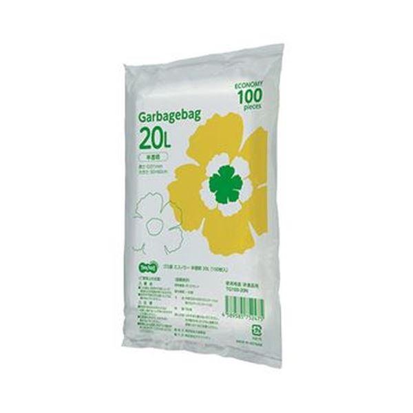 (まとめ)TANOSEE ゴミ袋エコノミー 半透明 20L 1パック(100枚)【×20セット】