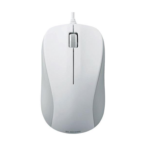 (まとめ)エレコム USB光学式マウス 3ボタンRoHS指令準拠 Mサイズ ホワイト M-K6URWH/RS 1セット(5個)【×3セット】