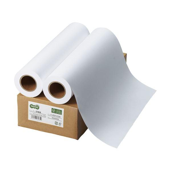 (まとめ) TANOSEE インクジェット用普通紙 A2ロール 420mm×50m 1箱(2本) 【×5セット】