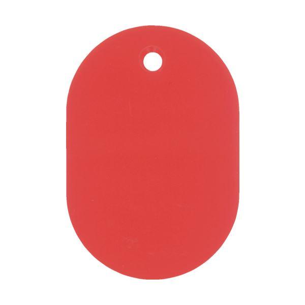(まとめ) 日本緑十字社 小判札(無地札) 赤60×40mm スチロール樹脂 200024 1枚 【×100セット】