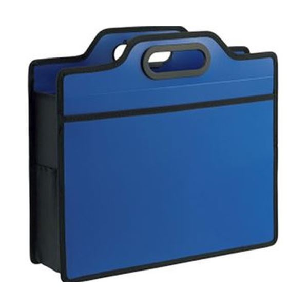 (まとめ)ライオン事務器 オフィスキャリングバッグ(ビジカル)タテ330×ヨコ365×厚さ110mm ブルー BK-353B 1セット(5個)【×3セット】