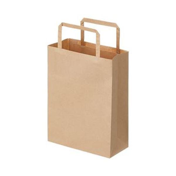 (まとめ)TANOSEE 紙手提袋 平紐 極小ヨコ180×タテ240×マチ幅80mm 茶無地 1パック(50枚)【×20セット】
