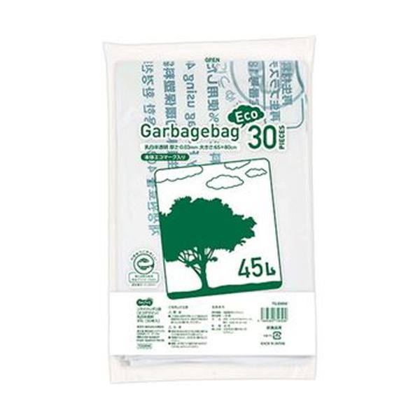 (まとめ)TANOSEE リサイクルポリ袋(エコデザイン)乳白半透明 45L 1パック(30枚)【×20セット】