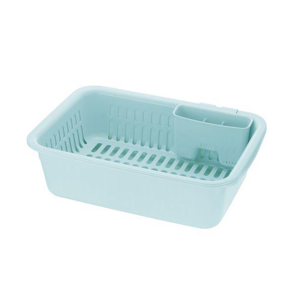 (まとめ) 水切りラックセット/キッチン用品 【ミントブルー L】 抗菌加工 カトラリーポケット付 『シェリー』 【×14個セット】