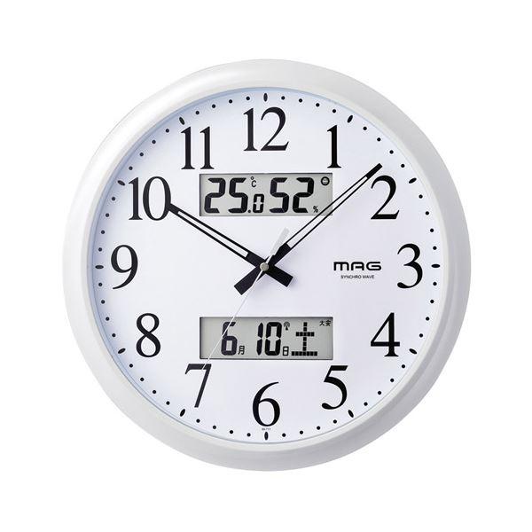 マグ 温度湿度計付電波掛時計 ダブルリンク M80809916 K90806519
