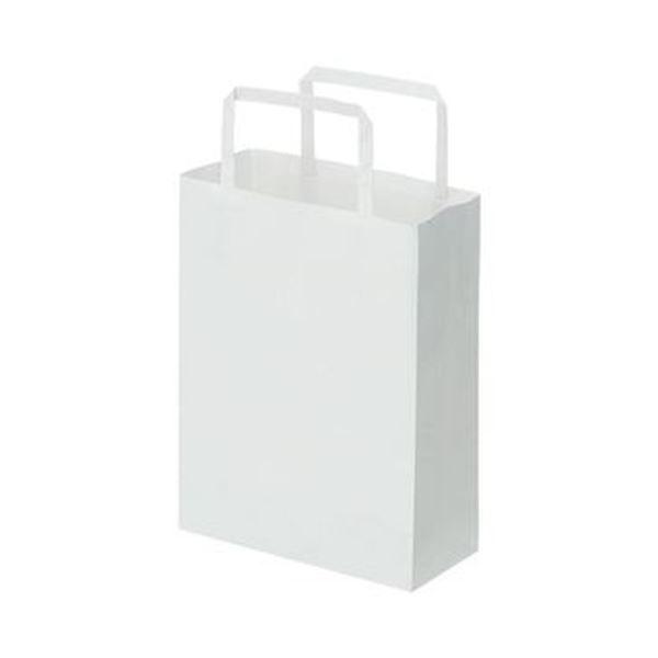 (まとめ)TANOSEE 紙手提袋 平紐 極小ヨコ180×タテ240×マチ幅80mm 白無地 1パック(50枚)【×20セット】