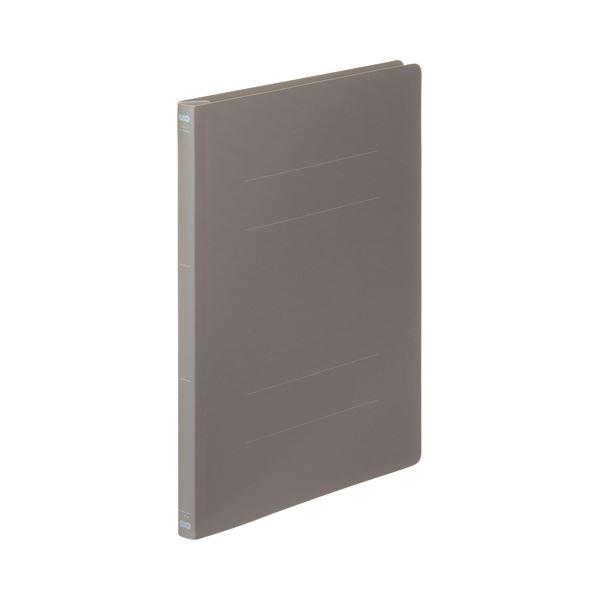 (まとめ) TANOSEE フラットファイル(PP) A4タテ 150枚収容 背幅17mm ダークグレー 1セット(25冊:5冊×5パック) 【×5セット】