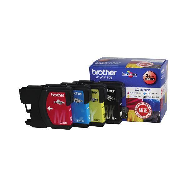 (まとめ) ブラザー BROTHER インクカートリッジ お徳用 4色 LC16-4PK 1箱(4個:各色1個) 【×10セット】
