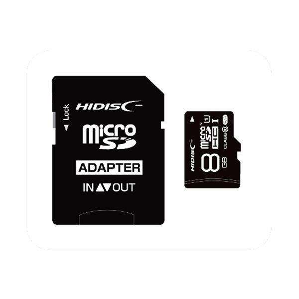 (まとめ) ハイディスク microSDHCカード8GB class10 UHS-I対応 SD変換アダプター付き HDMCSDH8GCL10UIJP3 1枚 【×10セット】