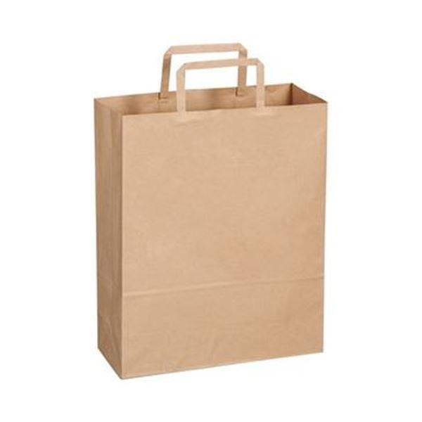 (まとめ)TANOSEE 紙手提袋 平紐 小ヨコ260×タテ320×マチ幅100mm 茶無地 1パック(50枚)【×20セット】