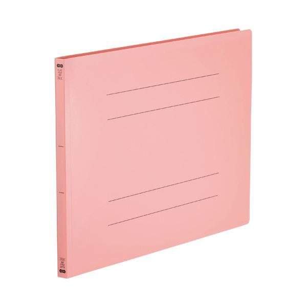 (まとめ)TANOSEE フラットファイル(再生PP)A3ヨコ 150枚収容 背幅18mm ピンク 1パック(5冊)【×5セット】