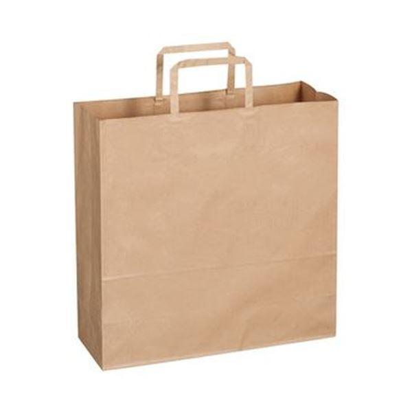 (まとめ)TANOSEE 紙手提袋 平紐 中ヨコ320×タテ320×マチ幅115mm 茶無地 1パック(50枚)【×20セット】