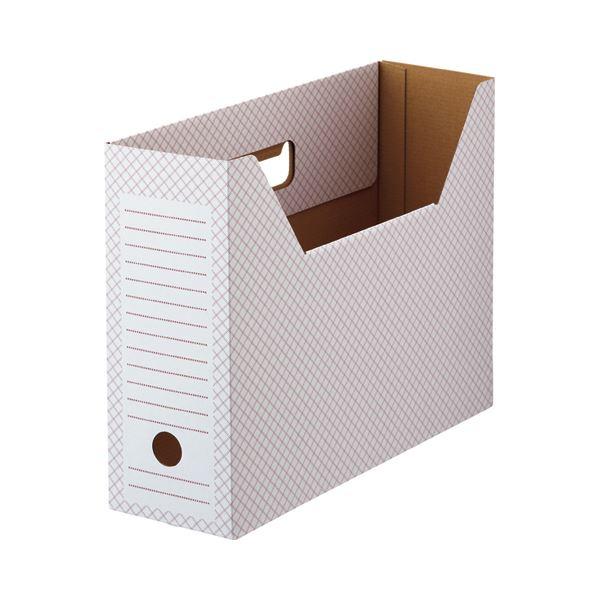 (まとめ)TANOSEEボックスファイル(ホワイト) A4ヨコ 背幅100mm レッド 1セット(50冊:10冊×5パック)【×3セット】