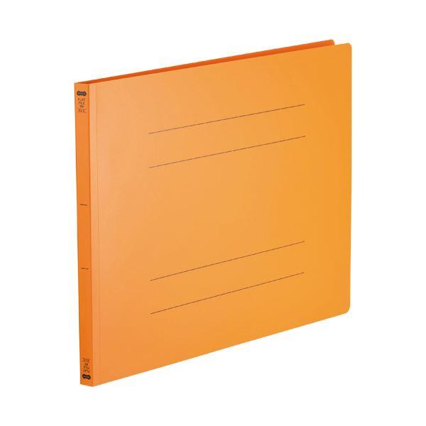 (まとめ)TANOSEE フラットファイル(再生PP)A3ヨコ 150枚収容 背幅18mm オレンジ 1パック(5冊)【×5セット】