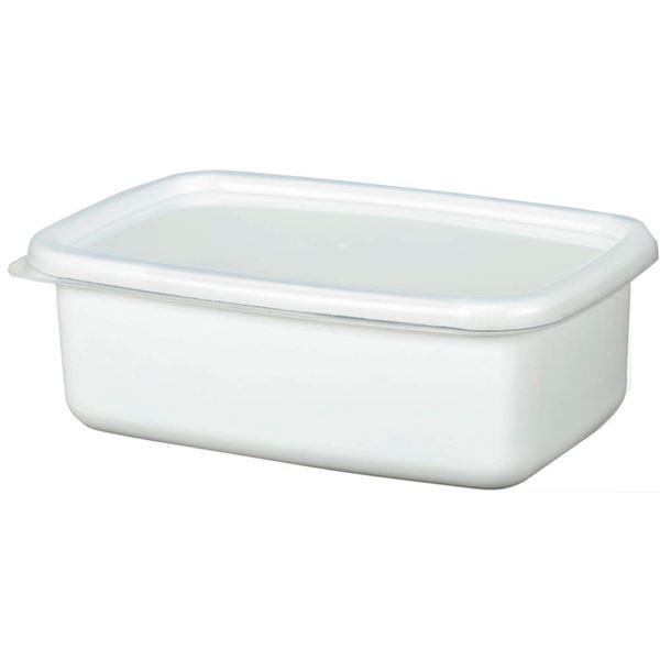 (まとめ) ホーローフードストッカー/琺瑯保存容器 【ホワイト 角型 M】 キッチン用品 【×24個セット】