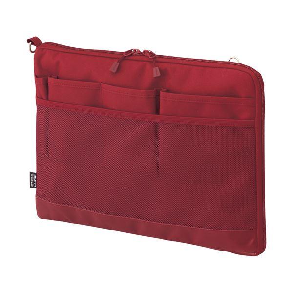 (まとめ)リヒトラブ SMART FITACTACT バッグインバッグ (ヨコ型) A4 レッド A-7681-3 1個【×3セット】