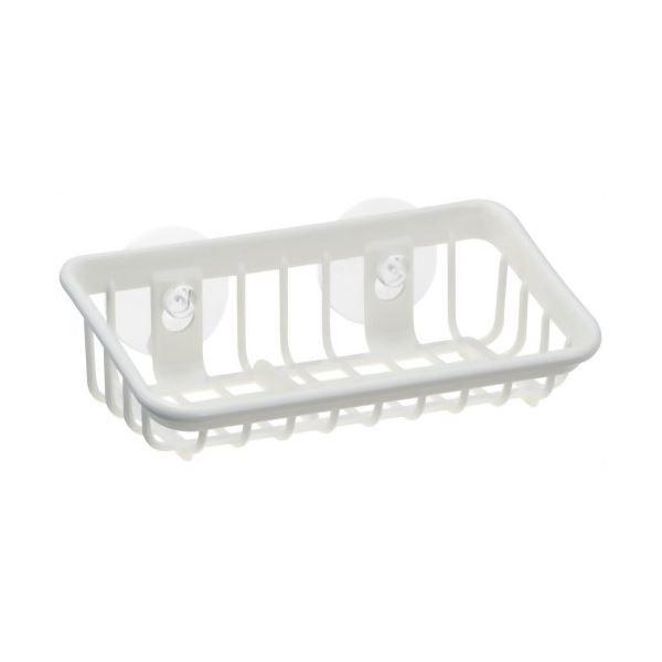 (まとめ) たわし入れ/スポンジラック 【M型】 抗菌加工付き 吸盤取付 ホワイト キッチン用品 『ポゼ』 【80個セット】