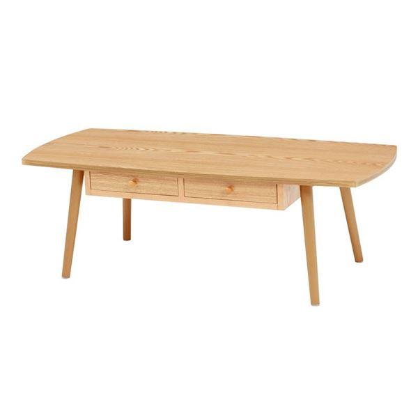 【送料込】 【ポイント10倍】センターテーブル/ローテーブル 【ナチュラル 幅110×奥行48×高さ37cm】 引き出し 木製脚付き 組立式 R6353NA 〔リビング〕【】, 味そう倶楽部 a7bb7bdf