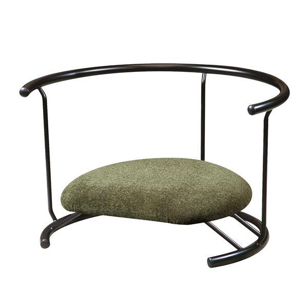 あぐら椅子/正座椅子 【背もたれ付き モスグリーン×ブラック】 幅60cm 耐荷重80kg 日本製 スチール 『座ユー』 〔リビング〕【代引不可】