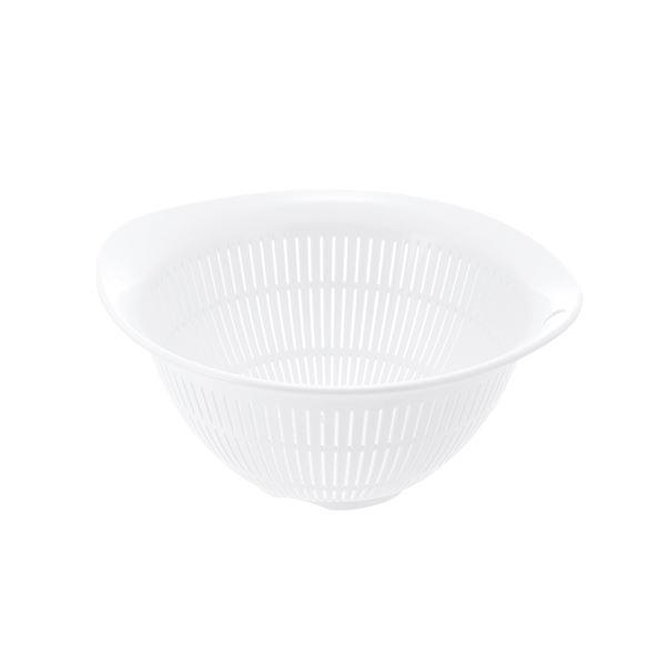 (まとめ) プラスチック製 ザル/キッチン用品 【ホワイト L】 銀イオン配合 食洗機対応 『シェリー』 【×80個セット】