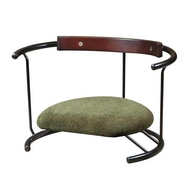 あぐら椅子/正座椅子 【スウィング背もたれ付き モスグリーン×ブラック】 幅60cm 耐荷重80kg 日本製 スチール 『座ユー』【代引不可】