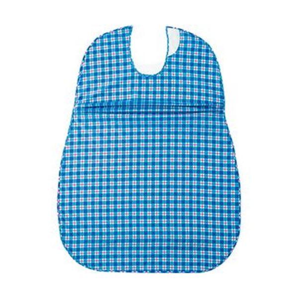 (まとめ)オオサキメディカル プラスハートこぼれにくい食事用エプロン サイドタック ブルー 73744 1枚【×10セット】