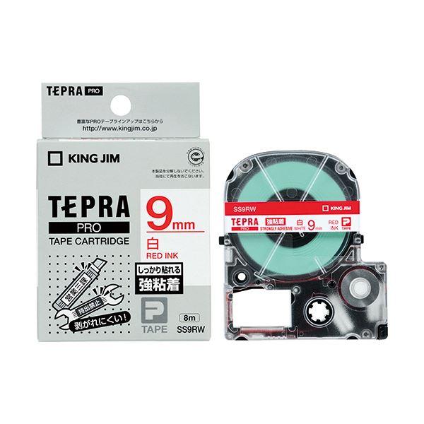 (まとめ) キングジム テプラ PRO テープカートリッジ 強粘着 9mm 白/赤文字 SS9RW 1個 【×10セット】
