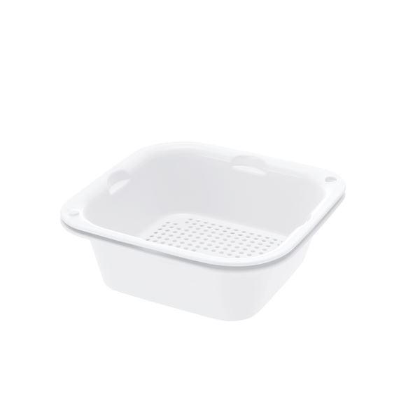 (まとめ) ザルバッとん/ざる・バットセット 【ホワイト 大盛】 食洗機対応 キッチン用品 『シェリー』 【×24個セット】