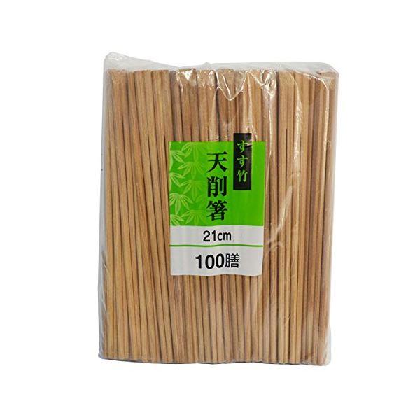 (まとめ)割り箸 21cm 100膳 すす竹 天削箸 (使い捨て) 【30個セット】