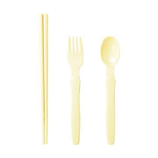 (まとめ)小森樹脂 箸・スプーン・フォークセットナチュラル 1セット【×20セット】