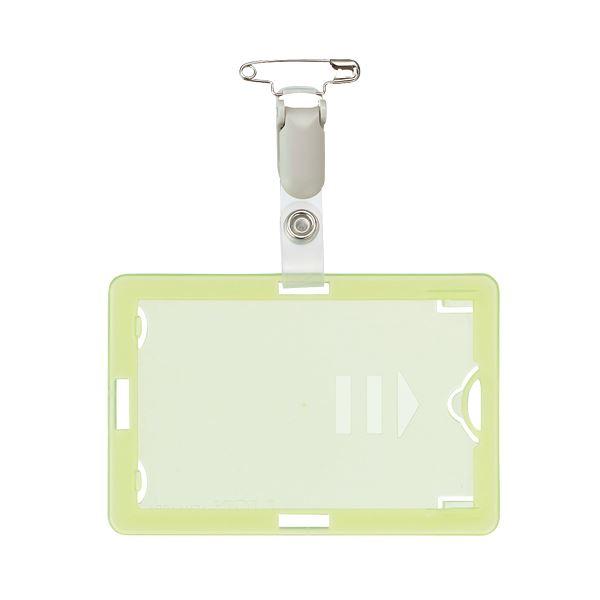 (まとめ) ライオン事務器 IDカード専用名札タテヨコ兼用型 ソフトタイプ クリップ付 グリーン N-209 1個 【×100セット】