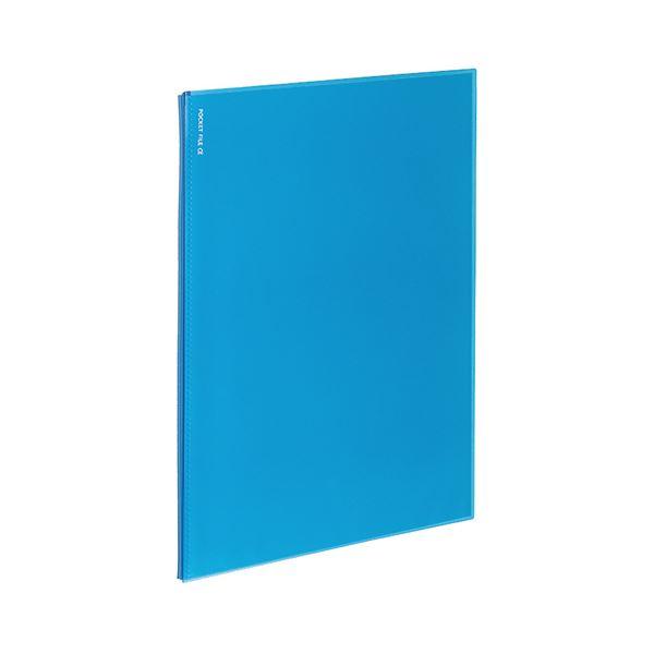 (まとめ)コクヨ ポケットファイルα(ノビータα)固定式 A4タテ 6ポケット 背幅3mm ライトブルー ラ-NF6LB 1セット(10冊)【×5セット】