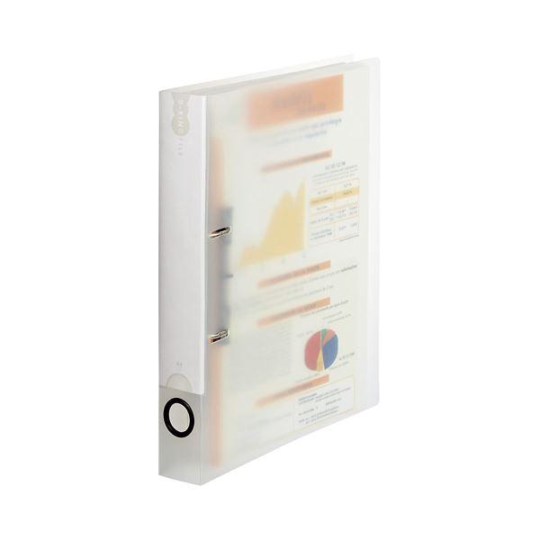 (まとめ) TANOSEE Dリングファイル(PP表紙) A4タテ 2穴 250枚収容 背幅43mm クリア 1セット(10冊) 【×5セット】