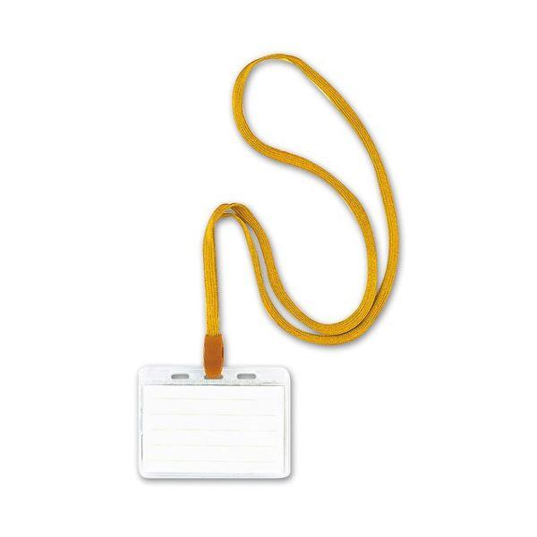 (まとめ) ソニック 吊り下げ名札 スタンダードタイプ ソフト 黄 NF-448-Y 1箱(10個) 【×10セット】