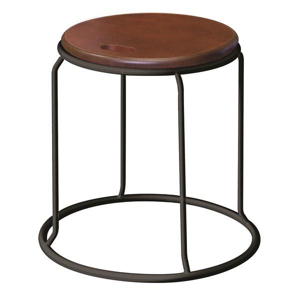 北欧風 スツール/丸椅子 【同色5脚セット ダークブラウン×ブラック】 幅415mm スチール 『ウッド リンクスツール』【代引不可】