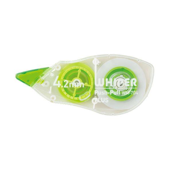 (まとめ) プラス 修正テープ ホワイパープッシュプル 4.2mm幅×12m グリーン WH-704 1個 【×30セット】