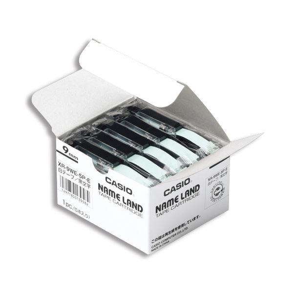 (まとめ)カシオ CASIO ネームランド NAME LAND スタンダードテープ 9mm×8m 透明/黒文字 XR-9X-5P-E 1パック(5個)【×3セット】