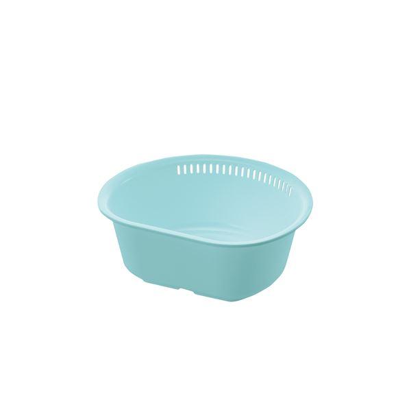 【ポイント10倍】(まとめ) 洗い桶/ウォッシュタブ 【D型 L ミントブルー】 抗菌加工付き キッチン用品 『シェリー』 【×50個セット】