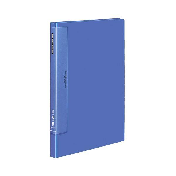 コクヨ クリヤーブック(ウェーブカットポケット・固定式)B4タテ 40ポケット 背幅27mm 青 ラ-T574B 1セット(4冊)