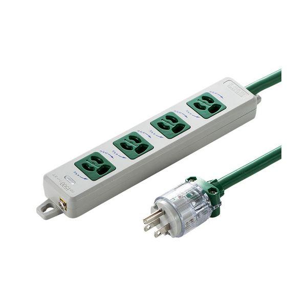 サンワサプライ 医用接地プラグ付き電源タップ グリーン TAP-HPM4-3G