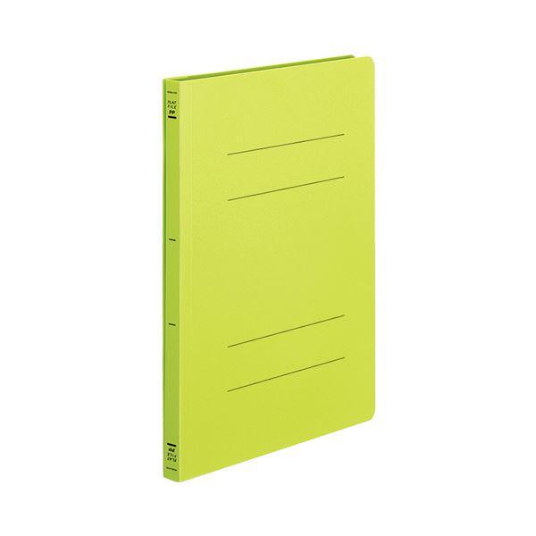 (まとめ) フラットファイル バインダー <PP> 発泡PP A4タテ 2穴 150枚収容 黄緑 10冊 【×10セット】