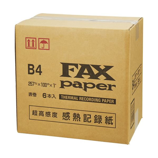 (まとめ)感熱FAXロール紙 B4幅257mm×長さ100m 芯内径1インチ 表発色 ON-5711 1箱(6本)【×3セット】