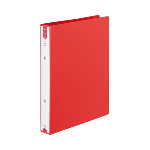 (まとめ) TANOSEE リングファイル(PP表紙) A4タテ 2穴 260枚収容 背幅42mm レッド 1セット(10冊) 【×5セット】